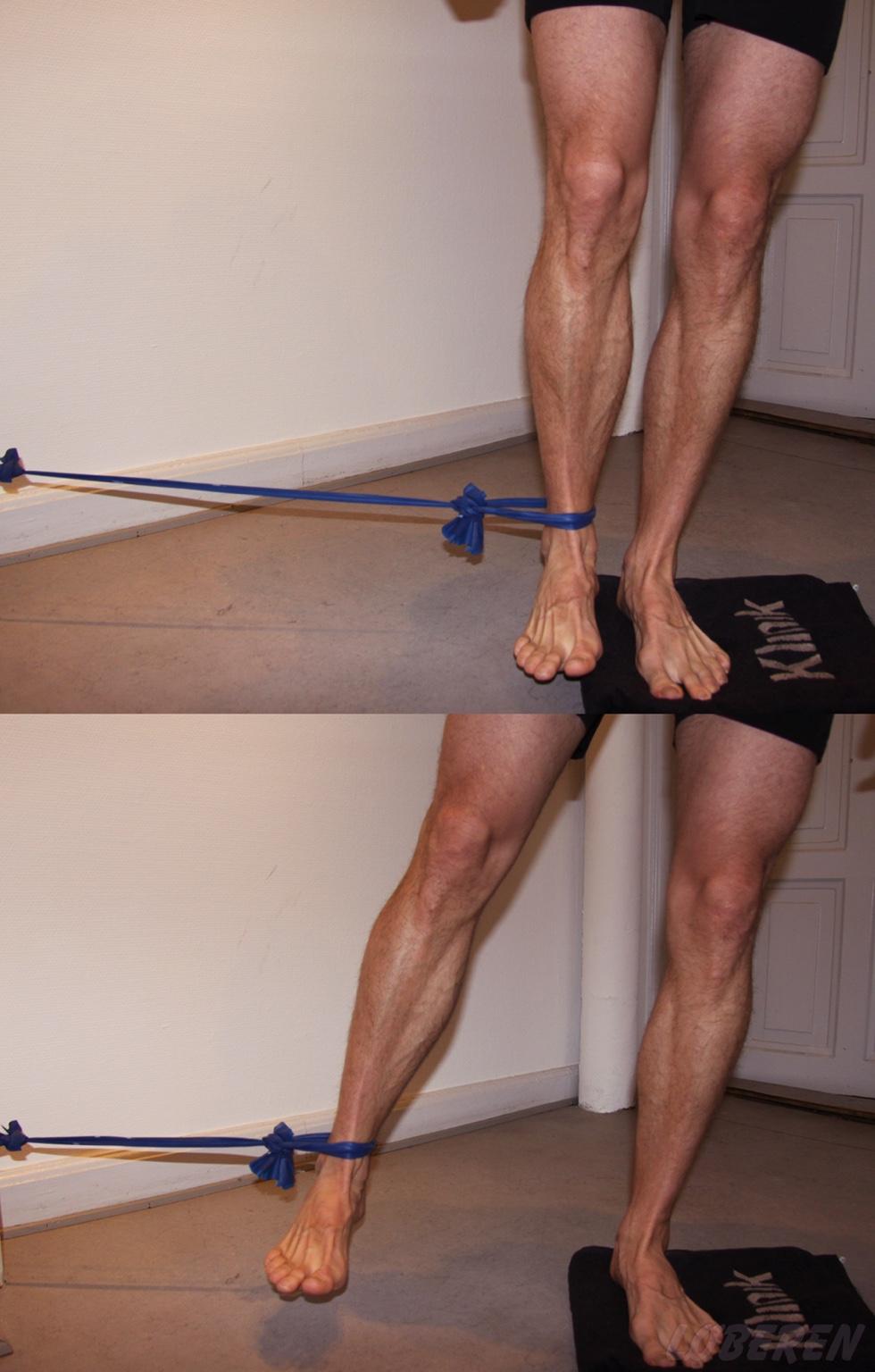 Øvelser for knæet med brug af elastik.